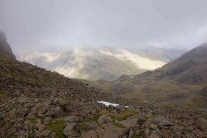 View near top Scafell snow