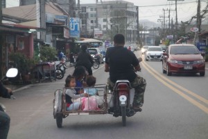 Family on moped