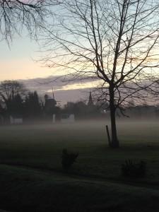 Wraysbury green in mist