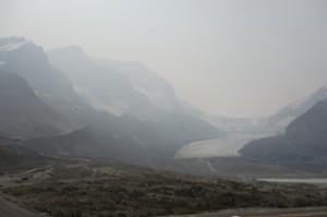 Glacier in smoke