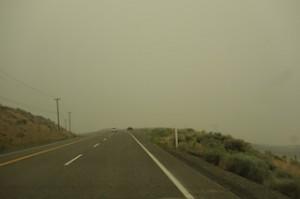 Smoke on road