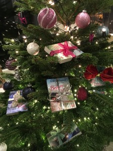 Books on Christmas tree